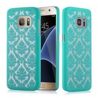 Samsung Galaxy S7 Hardcase Hülle in GRÜN von Cadorabo - Blumen Paisley Henna Design Schutzhülle ? Handyhülle Bumper Back Case Cover
