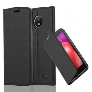 Cadorabo Hülle für Motorola MOTO E4 in NACHT SCHWARZ - Handyhülle mit Magnetverschluss, Standfunktion und Kartenfach - Case Cover Schutzhülle Etui Tasche Book Klapp Style