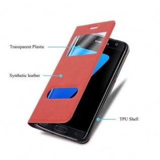 Cadorabo Hülle für Samsung Galaxy S7 EDGE in SAFRAN ROT ? Handyhülle mit Magnetverschluss, Standfunktion und 2 Sichtfenstern ? Case Cover Schutzhülle Etui Tasche Book Klapp Style - Vorschau 3