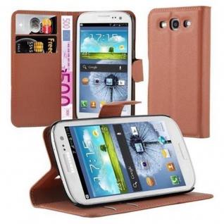 Cadorabo Hülle für Samsung Galaxy S3 / S3 NEO in SCHOKO BRAUN - Handyhülle mit Magnetverschluss, Standfunktion und Kartenfach - Case Cover Schutzhülle Etui Tasche Book Klapp Style
