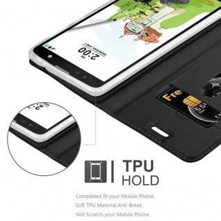 Cadorabo Hülle für LG Stylus 2 in CLASSY SCHWARZ - Handyhülle mit Magnetverschluss, Standfunktion und Kartenfach - Case Cover Schutzhülle Etui Tasche Book Klapp Style - Vorschau 2
