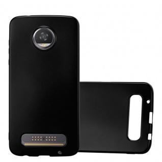 Cadorabo Hülle für Motorola MOTO Z2 PLAY in METALLIC SCHWARZ - Handyhülle aus flexiblem TPU Silikon - Silikonhülle Schutzhülle Ultra Slim Soft Back Cover Case Bumper
