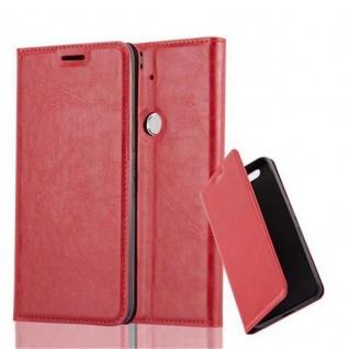 Cadorabo Hülle für Huawei NEXUS 6P in APFEL ROT - Handyhülle mit Magnetverschluss, Standfunktion und Kartenfach - Case Cover Schutzhülle Etui Tasche Book Klapp Style
