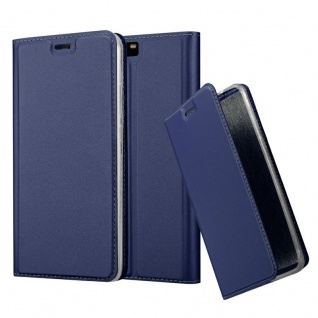 Cadorabo Hülle für Huawei P10 PLUS in CLASSY DUNKEL BLAU - Handyhülle mit Magnetverschluss, Standfunktion und Kartenfach - Case Cover Schutzhülle Etui Tasche Book Klapp Style