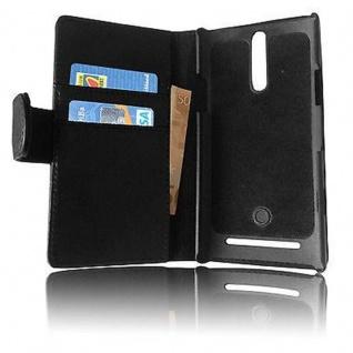 Cadorabo Hülle für Sony Xperia S in KAVIAR SCHWARZ - Handyhülle aus glattem Kunstleder mit Standfunktion und Kartenfach - Case Cover Schutzhülle Etui Tasche Book Klapp Style - Vorschau 5