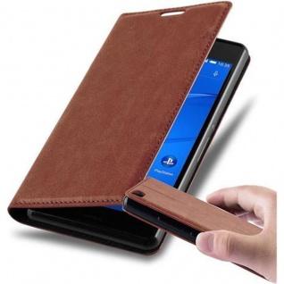 Cadorabo Hülle für Sony Xperia Z3 in CAPPUCCINO BRAUN - Handyhülle mit Magnetverschluss, Standfunktion und Kartenfach - Case Cover Schutzhülle Etui Tasche Book Klapp Style