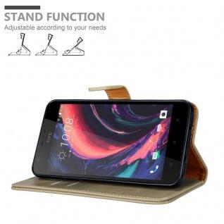 Cadorabo Hülle für HTC Desire 10 Lifestyle / Desire 825 in CAPPUCCINO BRAUN - Handyhülle mit Magnetverschluss, Standfunktion und Kartenfach - Case Cover Schutzhülle Etui Tasche Book Klapp Style - Vorschau 4