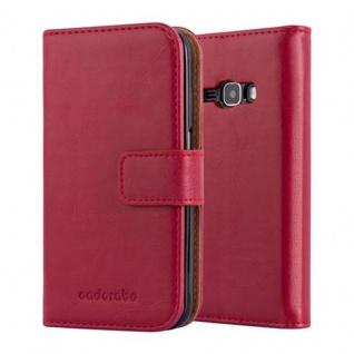 Cadorabo Hülle für Samsung Galaxy J1 2016 in WEIN ROT ? Handyhülle mit Magnetverschluss, Standfunktion und Kartenfach ? Case Cover Schutzhülle Etui Tasche Book Klapp Style