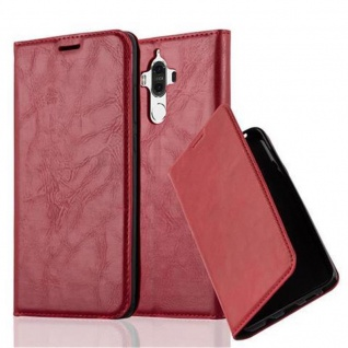 Cadorabo Hülle für Huawei MATE 9 in APFEL ROT Handyhülle mit Magnetverschluss, Standfunktion und Kartenfach Case Cover Schutzhülle Etui Tasche Book Klapp Style