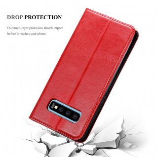 Cadorabo Hülle für Samsung Galaxy S10 PLUS in APFEL ROT - Handyhülle mit Magnetverschluss, Standfunktion und Kartenfach - Case Cover Schutzhülle Etui Tasche Book Klapp Style - Vorschau 5