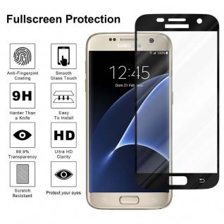 Cadorabo Vollbild Panzer Folie für Samsung Galaxy S7 - Schutzfolie in TRANSPARENT mit SCHWARZ - Gehärtetes (Tempered) Display-Schutzglas in 9H Härte mit 3D Touch Kompatibilität - Vorschau 4