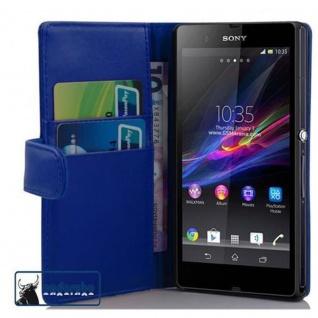 Cadorabo Hülle für Sony Xperia Z (1. Gen.) in BRILLANT BLAU - Handyhülle aus glattem Kunstleder mit Standfunktion und Kartenfach - Case Cover Schutzhülle Etui Tasche Book Klapp Style