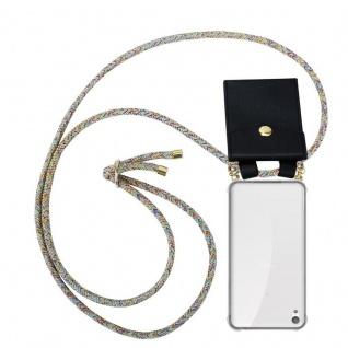 Cadorabo Handy Kette für Sony Xperia E5 in RAINBOW - Silikon Necklace Umhänge Hülle mit Gold Ringen, Kordel Band Schnur und abnehmbarem Etui ? Schutzhülle