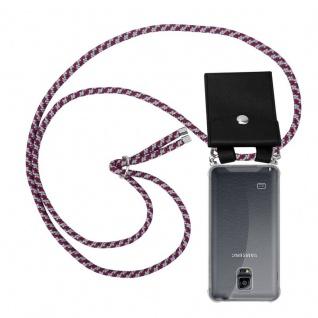 Cadorabo Handy Kette für Samsung Galaxy NOTE 4 in ROT WEISS - Silikon Necklace Umhänge Hülle mit Silber Ringen, Kordel Band Schnur und abnehmbarem Etui - Schutzhülle