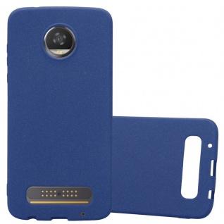 Cadorabo Hülle für Motorola MOTO Z2 PLAY in FROST DUNKEL BLAU - Handyhülle aus flexiblem TPU Silikon - Silikonhülle Schutzhülle Ultra Slim Soft Back Cover Case Bumper