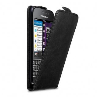 Cadorabo Hülle für Blackberry Q10 in NACHT SCHWARZ - Handyhülle im Flip Design mit Magnetverschluss - Case Cover Schutzhülle Etui Tasche Book Klapp Style