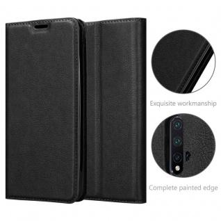 Cadorabo Hülle für Huawei NOVA 5 / 5 PRO in NACHT SCHWARZ - Handyhülle mit Magnetverschluss, Standfunktion und Kartenfach - Case Cover Schutzhülle Etui Tasche Book Klapp Style - Vorschau 5