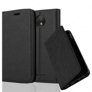 Cadorabo Hülle für Motorola MOTO C PLUS in NACHT SCHWARZ - Handyhülle mit Magnetverschluss, Standfunktion und Kartenfach - Case Cover Schutzhülle Etui Tasche Book Klapp Style
