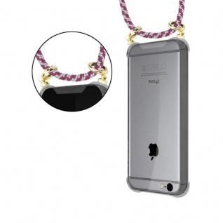 Cadorabo Handy Kette für Apple iPhone 6 PLUS / iPhone 6S PLUS in ROT WEISS - Silikon Necklace Umhänge Hülle mit Gold Ringen, Kordel Band Schnur und abnehmbarem Etui ? Schutzhülle - Vorschau 4