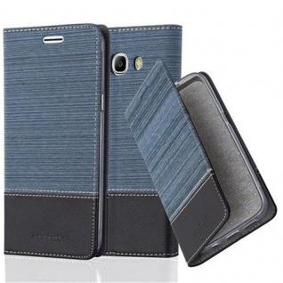 Cadorabo Hülle für Samsung Galaxy J7 2016 in DUNKEL BLAU SCHWARZ - Handyhülle mit Magnetverschluss, Standfunktion und Kartenfach - Case Cover Schutzhülle Etui Tasche Book Klapp Style