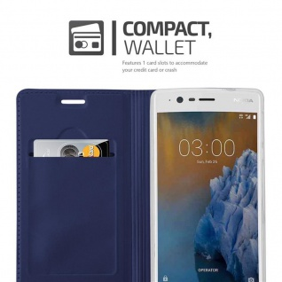 Cadorabo Hülle für Nokia 3 2017 in CLASSY DUNKEL BLAU - Handyhülle mit Magnetverschluss, Standfunktion und Kartenfach - Case Cover Schutzhülle Etui Tasche Book Klapp Style - Vorschau 3