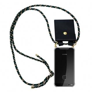 Cadorabo Handy Kette für Huawei P10 LITE in CAMOUFLAGE Silikon Necklace Umhänge Hülle mit Gold Ringen, Kordel Band Schnur und abnehmbarem Etui Schutzhülle