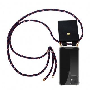 Cadorabo Handy Kette für Apple iPhone 11 PRO (XI PRO) in BLAU ROT WEISS GEPUNKTET - Silikon Necklace Umhänge Hülle mit Gold Ringen, Kordel Band Schnur und abnehmbarem Etui - Schutzhülle