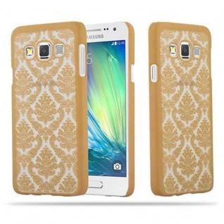 Samsung Galaxy A3 2015 Hardcase Hülle in GOLD von Cadorabo - Blumen Paisley Henna Design Schutzhülle ? Handyhülle Bumper Back Case Cover