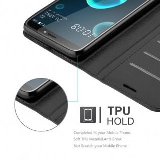 Cadorabo Hülle für HTC Desire 12 PLUS in PHANTOM SCHWARZ - Handyhülle mit Magnetverschluss, Standfunktion und Kartenfach - Case Cover Schutzhülle Etui Tasche Book Klapp Style - Vorschau 3