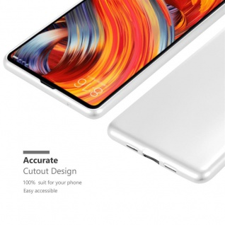 Cadorabo Hülle für Xiaomi Mi Mix 2 in METALLIC SILBER - Handyhülle aus flexiblem TPU Silikon - Silikonhülle Schutzhülle Ultra Slim Soft Back Cover Case Bumper - Vorschau 5