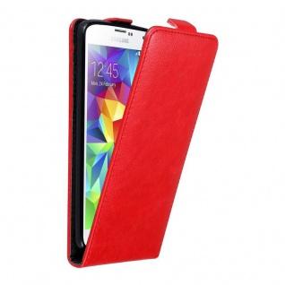 Cadorabo Hülle für Samsung Galaxy S5 MINI / S5 MINI DUOS in APFEL ROT - Handyhülle im Flip Design mit unsichtbarem Magnetverschluss - Case Cover Schutzhülle Etui Tasche Book Klapp Style