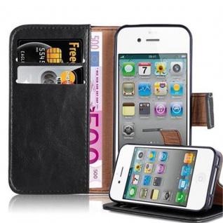 Cadorabo Hülle für Apple iPhone 4 / iPhone 4S in GRAPHIT SCHWARZ ? Handyhülle mit Magnetverschluss, Standfunktion und Kartenfach ? Case Cover Schutzhülle Etui Tasche Book Klapp Style