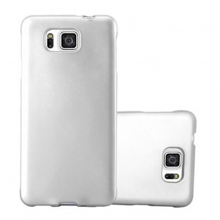 Cadorabo Hülle für Samsung Galaxy ALPHA in METALLIC SILBER - Handyhülle aus flexiblem TPU Silikon - Silikonhülle Schutzhülle Ultra Slim Soft Back Cover Case Bumper