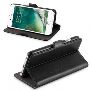 Cadorabo Hülle für Apple iPhone 7 / iPhone 7S / iPhone 8 - Hülle in KOHLEN SCHWARZ - Handyhülle im 2-in-1 Design mit Standfunktion und Kartenfach - Hard Case Book Etui Schutzhülle Tasche Cover - Vorschau 3