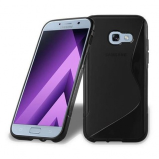 Cadorabo Hülle für Samsung Galaxy A5 2017 in OXID SCHWARZ - Handyhülle aus flexiblem TPU Silikon - Silikonhülle Schutzhülle Ultra Slim Soft Back Cover Case Bumper