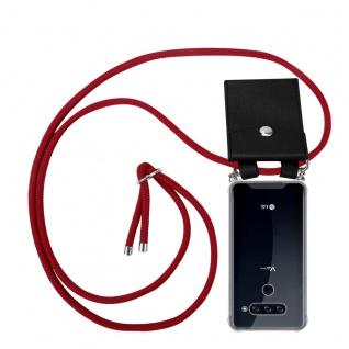 Cadorabo Handy Kette für LG V40 in RUBIN ROT Silikon Necklace Umhänge Hülle mit Silber Ringen, Kordel Band Schnur und abnehmbarem Etui Schutzhülle