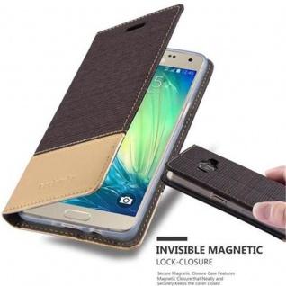 Cadorabo Hülle für Samsung Galaxy A5 2015 in ANTRAZIT GOLD - Handyhülle mit Magnetverschluss, Standfunktion und Kartenfach - Case Cover Schutzhülle Etui Tasche Book Klapp Style