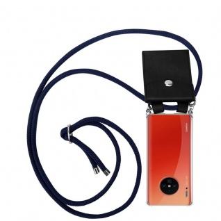 Cadorabo Handy Kette für Huawei MATE 30 PRO in TIEF BLAU Silikon Necklace Umhänge Hülle mit Silber Ringen, Kordel Band Schnur und abnehmbarem Etui Schutzhülle