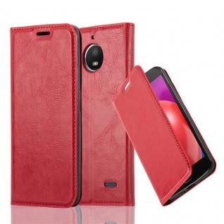Cadorabo Hülle für Motorola MOTO E4 in APFEL ROT Handyhülle mit Magnetverschluss, Standfunktion und Kartenfach Case Cover Schutzhülle Etui Tasche Book Klapp Style