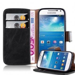 Cadorabo Hülle für Samsung Galaxy S4 MINI in GRAPHIT SCHWARZ ? Handyhülle mit Magnetverschluss, Standfunktion und Kartenfach ? Case Cover Schutzhülle Etui Tasche Book Klapp Style