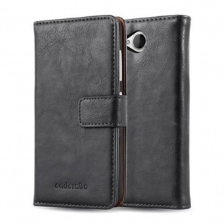Cadorabo Hülle für Nokia Lumia 650 in GRAPHIT SCHWARZ ? Handyhülle mit Magnetverschluss, Standfunktion und Kartenfach ? Case Cover Schutzhülle Etui Tasche Book Klapp Style