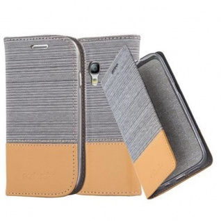 Cadorabo Hülle für Samsung Galaxy S3 MINI in HELL GRAU BRAUN - Handyhülle mit Magnetverschluss, Standfunktion und Kartenfach - Case Cover Schutzhülle Etui Tasche Book Klapp Style