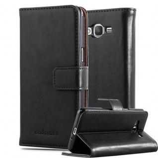 Cadorabo Hülle für Samsung Galaxy GRAND PRIME in GRAPHIT SCHWARZ ? Handyhülle mit Magnetverschluss, Standfunktion und Kartenfach ? Case Cover Schutzhülle Etui Tasche Book Klapp Style