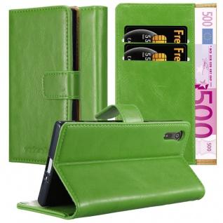 Cadorabo Hülle für Sony Xperia XZ / XZs in GRAS GRÜN ? Handyhülle mit Magnetverschluss, Standfunktion und Kartenfach ? Case Cover Schutzhülle Etui Tasche Book Klapp Style