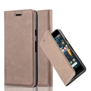 Cadorabo Hülle für Google PIXEL 2 in KAFFEE BRAUN Handyhülle mit Magnetverschluss, Standfunktion und Kartenfach Case Cover Schutzhülle Etui Tasche Book Klapp Style