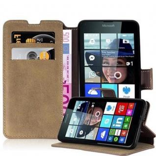 Cadorabo Hülle für Nokia Lumia 640 - Hülle in MATT SAND BRAUN ? Handyhülle mit Standfunktion und Kartenfach im Retro Design - Case Cover Schutzhülle Etui Tasche Book Klapp Style