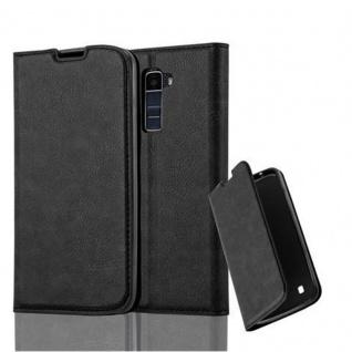 Cadorabo Hülle für LG K10 2016 in NACHT SCHWARZ - Handyhülle mit Magnetverschluss, Standfunktion und Kartenfach - Case Cover Schutzhülle Etui Tasche Book Klapp Style
