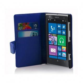 Cadorabo Hülle für Nokia Lumia 1020 in KÖNIGS BLAU - Handyhülle aus strukturiertem Kunstleder mit Standfunktion und Kartenfach - Case Cover Schutzhülle Etui Tasche Book Klapp Style