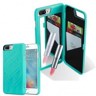 Cadorabo - TPU Hard Cover für Apple iPhone 8 PLUS / iPhone 7 PLUS / iPhone 7S PLUS mit Muster, Spiegel und 3 Kartenfächer ? Case Schutzhülle in TÜRKIS