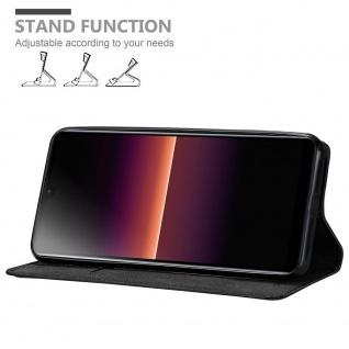 Cadorabo Hülle für Sony Xperia L4 in NACHT SCHWARZ Handyhülle mit Magnetverschluss, Standfunktion und Kartenfach Case Cover Schutzhülle Etui Tasche Book Klapp Style